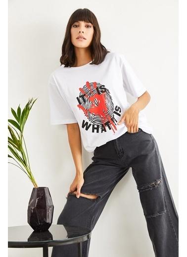 Sortee Kadın El Izi Baskılı T-Shirt Beyaz